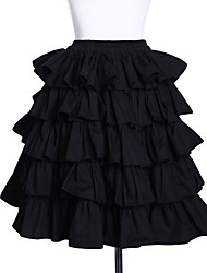 Short Black Cotton Classic Lolita Tiered Skirt