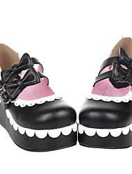 Hecho a mano Negro PU cuero blanco festoneado 6cm cuña Dulce Zapatos Lolita