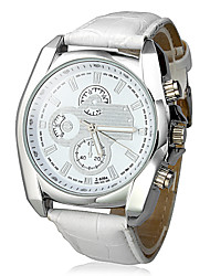 Men's Dress Watch Quartz PU Band White Brand