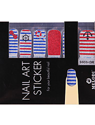14PCS Nail Art Stickers Pure Color Glitter Powder Series Sailor's Striped Shirt