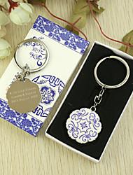 Personalisierte Blumen Schlüsselanhänger Favor in Geschenk-Box (Satz von 6)