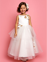 Lanting Bride A-line / Princess Ankle-length Flower Girl Dress - Satin / Tulle Sleeveless Jewel with Flower(s) / Tiers
