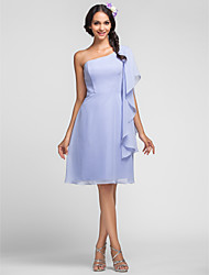 Lanting Bride® Knee-length Chiffon Bridesmaid Dress Sheath / Column One Shoulder Plus Size / Petite with Cascading Ruffles