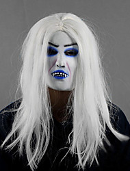 White Hair Monster with Colored Halloween Mask