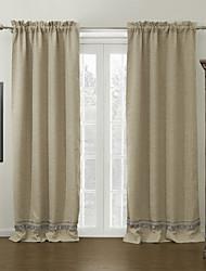 (Two Panels) Faux Bamboo Jacquard Fiber Room Darkening Curtain