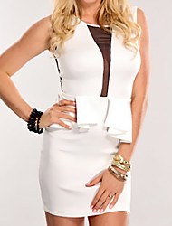 Contrasting Mesh Inset Peplum Dress White