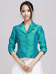 3/4 Sleeves Taffeta Special Occasion Bride Wedding Evening Jacket/Wrap(More Colors) Bolero Shrug