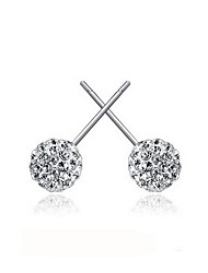 Elegant Sterling Silver With Crystal Allergy Free Stud Earrings (More Colors)