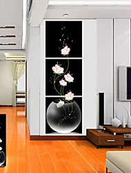Stretched Canvas Art Floral Pink Flower Set of 3