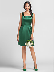 Lanting Knee-length Stretch Satin Bridesmaid Dress - Dark Green Plus Sizes / Petite Sheath/Column Straps