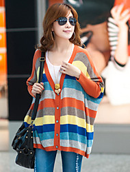 Women's Blue/Orange Cardigan , Casual Long Sleeve