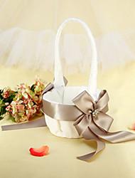 White Satin mit Perlen Gefrieste / Silver Ribbon Bow Hochzeit Blumenkorb