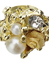 Goldene Wild Roses koreanischen Luxus-Perlen-Diamant-Ring