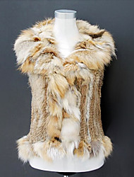 Fur Vest With Sleeveless  Pillow Collar Rabbit Fur Casual/Party Vest(More Colors)