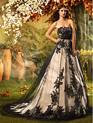 Lanting A-line / Princess Petite Wedding Dress - Black Court Train Strapless Lace / Tulle