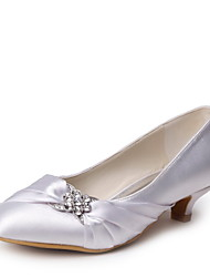 Tasteful  Satin Closed Toe Low Heel Pumps with Rhinestone and Ruffle Wedding Shoes