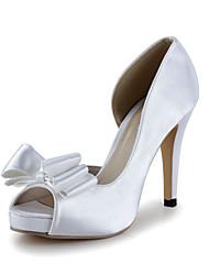 Bom gosto Cetim Peep Toe Pumps salto alto com sapatos de casamento bowknot