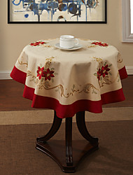 Beige Polyester Round Table Cloths