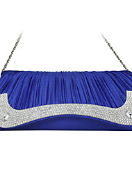 Women Silk Event/Party Evening Bag Blue / Silver / Ivory