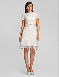 Cocktail Party Homecoming Wedding Party Dress - Short A-line Jewel Knee-length Lace with Lace Crystal Brooch