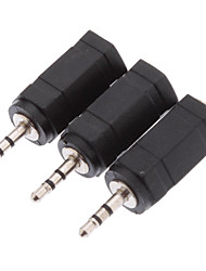 3 x 2.5mm Male to 3.5mm Female Audio Stereo Jack Adapter
