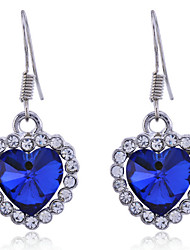 Heart Drop Earrings Jewelry Women Heart Daily Crystal Alloy Silver