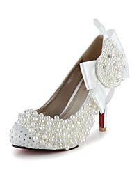 Bombas de cetim de bom gosto com bowknot strass e imitação de pérolas sapatos de casamento