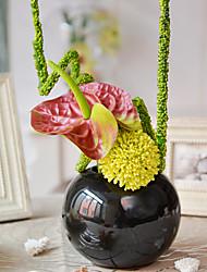 """16 """"H Green Palm Arrangement En Pot Noir"""