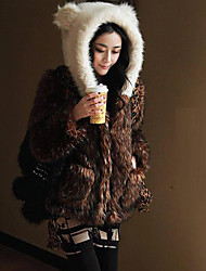 Long Sleeves Faux Fur Coat with Panda Hat