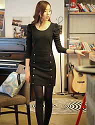 Women's Solid Dress , Casual/Work Round Neck Button