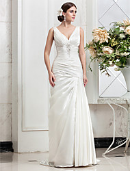 Lan Ting A-line Plus Sizes Wedding Dress - Ivory Sweep/Brush Train V-neck Stretch Satin