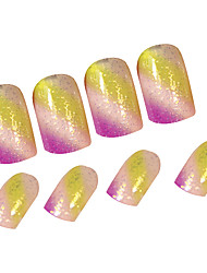 24PCS Colorful Stripes Full Cover Nail Tips