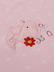 Pink Fish Coral Fleece with Embroidery Baby Blanket