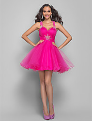 Homecoming Prom/Homecoming/Cocktail Party Dress - Fuchsia Plus Sizes A-line/Princess Straps Short/Mini Tulle