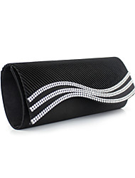 Women Bags Silk Evening Bag with Crystal/ Rhinestone for Event/Party White Black Red Blue Almond