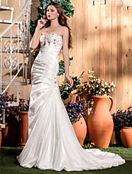 LAN TING BRIDE Trumpet / Mermaid Wedding Dress - Classic & Timeless Glamorous & Dramatic Sparkle & Shine Court Train Sweetheart Taffeta