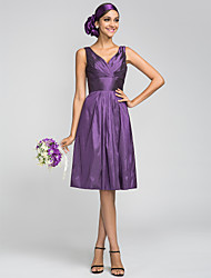 Knee-length Taffeta Bridesmaid Dress - Grape Plus Sizes A-line V-neck