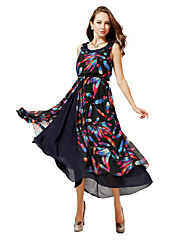 Women's V-Neck Dresses , Chiffon Vintage/Casual/Party Sleeveless WEDDING HOUSE