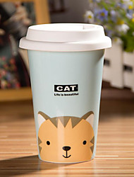 Cartoon Cat Mug with Flexible Glue Cover Cup