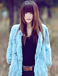Long Sleeve Collarless Rabbit Fur Party/Casual Coat