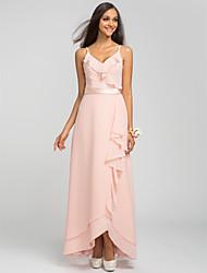 Bridesmaid Dress Asymmetrical Chiffon Sheath Column Spaghetti Straps Dress (605503)