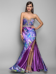 Formal Evening / Military Ball Dress - Open Back Trumpet / Mermaid Strapless / Sweetheart Floor-length Stretch Satin withBeading /
