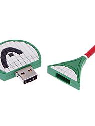 2GB di gomma molle verde racchetta USB Flash Drive