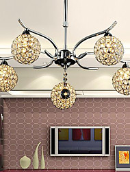 Modern Minimalist 5 Light Chandelier In Crystal Design (220V-240V)
