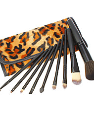 9PCS Jaune Leopard Noir pôle Cosmetic Brush Set