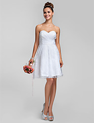 Knee-length Lace Bridesmaid Dress - White Plus Sizes / Petite A-line / Princess Sweetheart