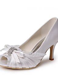 Tasteful Satin Peep Toe Pumps Shoes with Lace and Bowknot Wedding Shoes