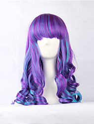 Cosplay Lolita Purple-Blue Mixed 60cm Curly Wig