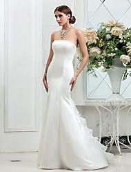Lan Ting Trumpet/Mermaid Plus Sizes Wedding Dress - Ivory Sweep/Brush Train Strapless Satin