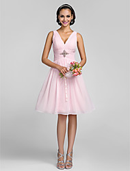 LAN TING BRIDE Knee-length V-neck Bridesmaid Dress - Lace-up Mini Me Sleeveless Chiffon